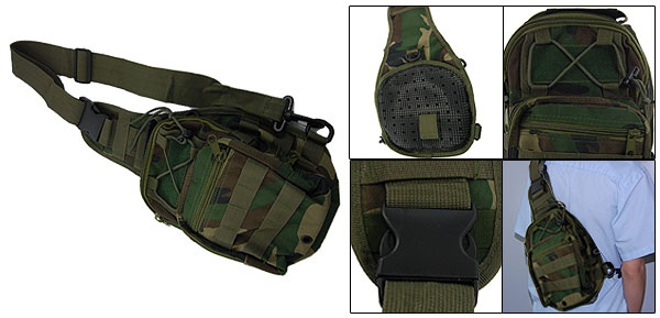 Men Side Release Buckle Hook Zippered Camouflage Chest Pack