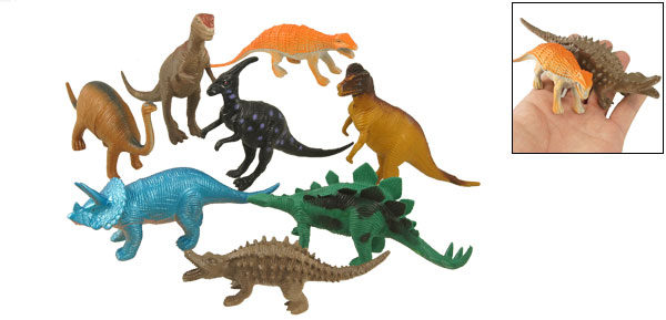 8 Pcs   Assorted Artificial Tyrannosaurus Plastic Dinosaur Toy