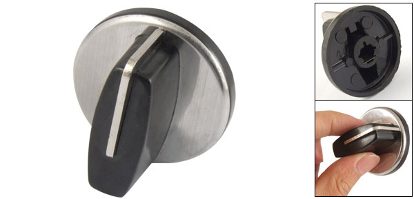 Replacement Black Silver Tone Rotary Switch Knob for Gas Stove Cooker