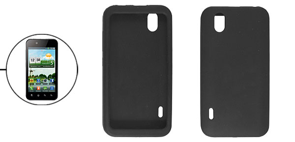 Smooth Black Soft Silicone Skin Cover for LG Optimus Black P970