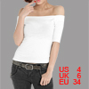 Ladies Short Sleeve Off Shoulder Basic T Shirt S