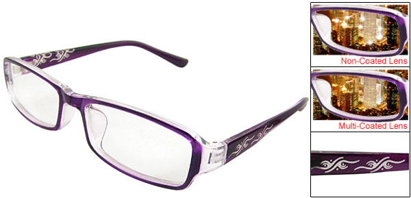 Lady Auspicious Clouds Print Arms Purple Plain Glasses