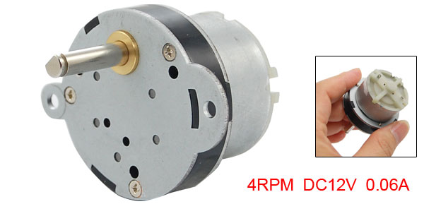 4RPM Output Speed 12V Rated Voltage 0.06A DC Geared Motor