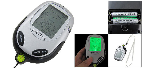 Thermometer Time Calendar Digital Compass Silver Tone Black