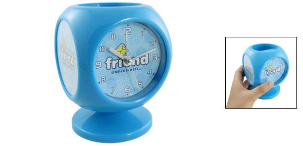 Round Dial Blue Pen Holder Design Tabletop Music Alarm Clock