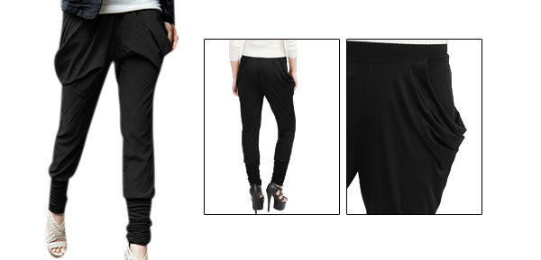 Ladies Two Pockets Elastic Waist Harem Pants Trousers Black XS