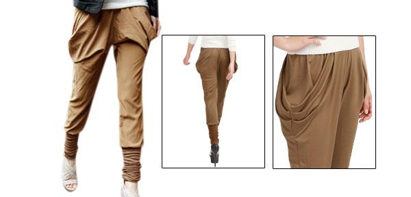 Allegra K Ladies Brown Elastic Waist Cropped Harem Pants Trousers Browns XS