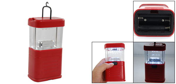 Fishing Camping 11-LED White Light Tote Lantern Red