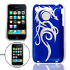 Blue Silver Tone Dragon Pattern Plastic Back Case for iPhone 3G 3...
