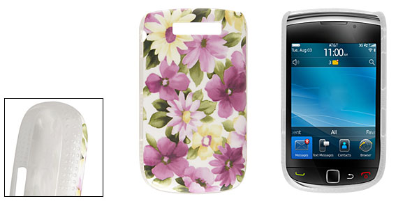 IMD Multicolor Floral Print Plastic Back Case for Blackberry 9800