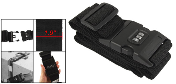 Side Release Buckle 3 Digits Combination Lock Luggage Strap Belt