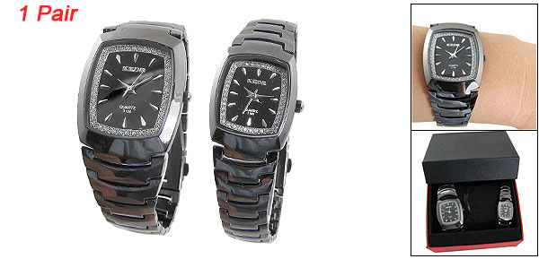 Pair Rectangle Dial Black Quartz Wrist Watch for Lovers