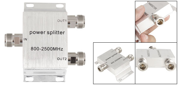 800-2500MHz N Female Connector 1 In 2 Out Power Divider