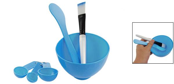 Blue 4 in 1 DIY Facial Mask Stick Brush Gauge Spoon Kit
