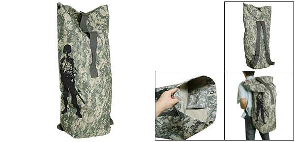 Camping ACU Pattern Armyman Print Military Canvas Duffle Bag for Men