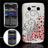 Red Floral Silver Tone Leaves Pattern Plastic IMD Back Cover for ...