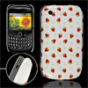 Red Strawberry Print Plastic White IMD Back Cover for Blackberry ...