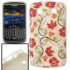 Red Floral Print Plastic IMD Back Case Beige for Blackberry 9700 9020