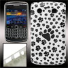 Black Paw Print White Plastic IMD Back Case for Blackberry 9700 9...