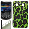 Plastic Leopard Print IMD Back Case Green for Blackberry 9700 902...
