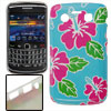 Fuchsia Floral Print Blue Plastic IMD Back Case for Blackberry 97...