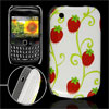 Red Strawberry Prints White IMD Hard Plastic Back Case for BlackB...