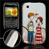 Cartoon Sweet Boy Girl Prints IMD Hard Plastic Back Case for Blac...