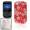 White Flowers Red IMD Hard Plastic Back Case Cover for BlackBerry...