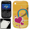 Yellow Plastic Fuchsia Heart Print IMD Back Cover for Blackberry ...