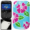 Fuchsia Flower Green Leaf Print IMD Back Case for Blackberry 8520...