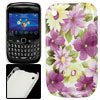 IMD Purple Yellow Flower Print Plastic Back Case for Blackberry 8...