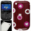 IMD Red Plastic Heart Pattern Back Cover for Blackberry 8520
