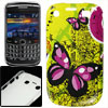 Fuchsia Black Butterfly Print Plastic IMD Back Case for Blackberr...