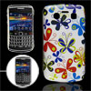 Colorful Butterfly Print White IMD Cover for BlackBerry 9700 9020