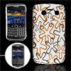 White IMD Floral Back Case Cover for BlackBerry 9700 9020