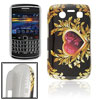 Black Hard Plastic Leaves Heart Back Case for BlackBerry 9700 9020
