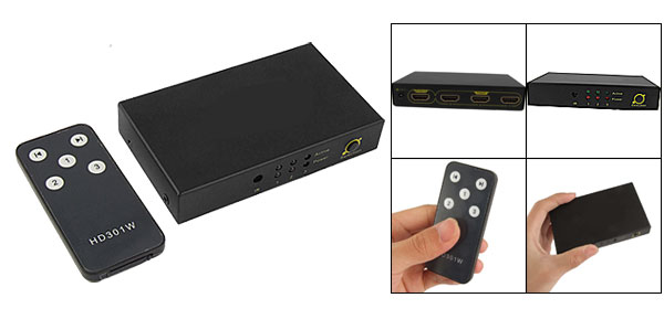 HDMI 3 Input Ports Selector Switcher Black w Remote Controller