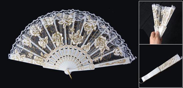 Rose Pattern Lacing Hem Dance White Folding Hand Fan