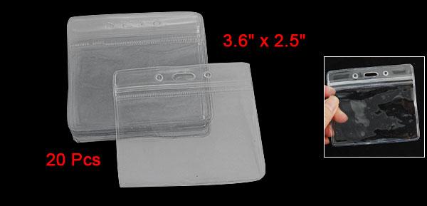 20 Pcs Clear PVC Horizontal ID Exhibition Card Holder