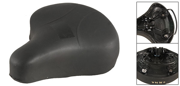 Black Faux Leather Covered Foam Saddle for Road Bike Bicycle