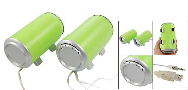Pair Desktop 3.5mm Plug USB Mini Cans Shape Speaker Green for Mp3 CD PC