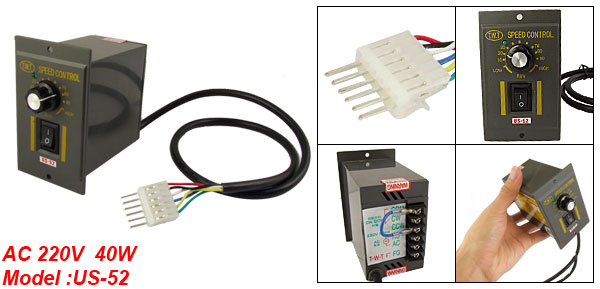 40W AC 220V 6 Pin Connector Motor Speed Control Switch US-52