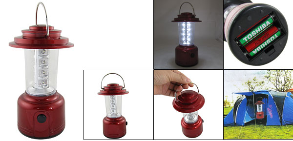 Red Plastic Housing White 12 LEDs Camping Lantern Lamp