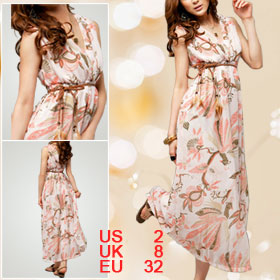 Double Deep V Neck Peacock Print Pink Full Dress XS for Lady