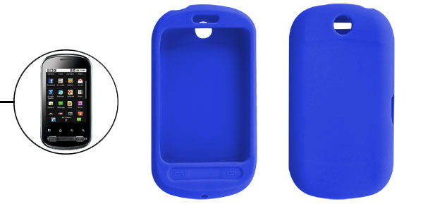 Blue Silicone Skin Protective Case Cover for LG Optimus Me P350