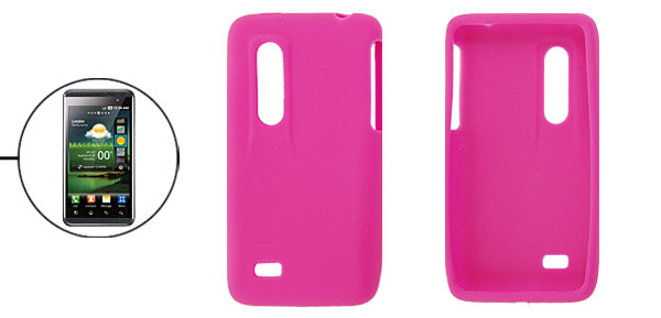 Smooth Soft Silicone Skin Fuchsia Cover for LG Optimus 3D P920