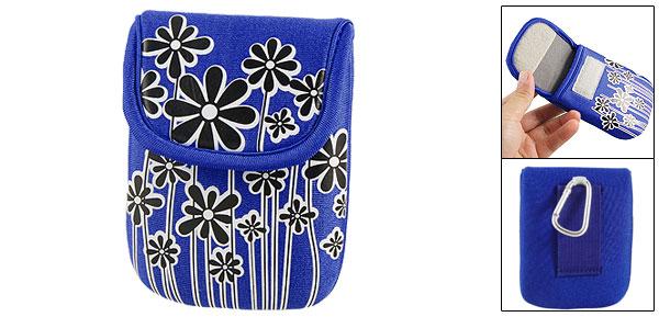 Blue Floral Print Loop And Hook Fastener Digital Canera Bag w Carabiner