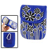 Blue Floral Print Loop And Hook Fastener Digital Canera Bag w Carabiner