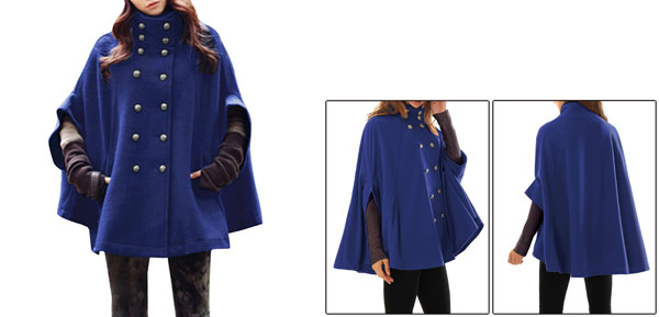 Embossed Double Breasted Royal Blue Poncho Coat for Lady M