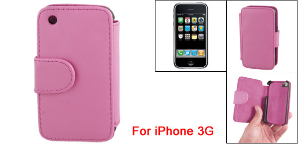 Fuchsia Faux Leather Magnetic Side Flip Pouch Case for iPhone 3G